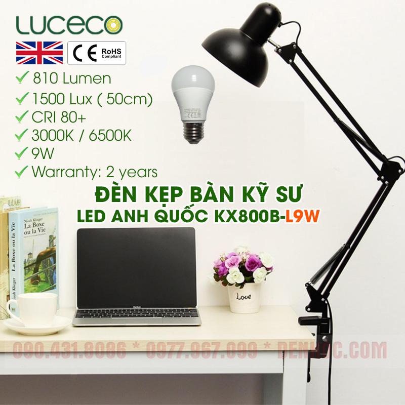 Đèn Kẹp Bàn Làm Việc LED 9W UK Anh Quốc - DTKT800B-L9W
