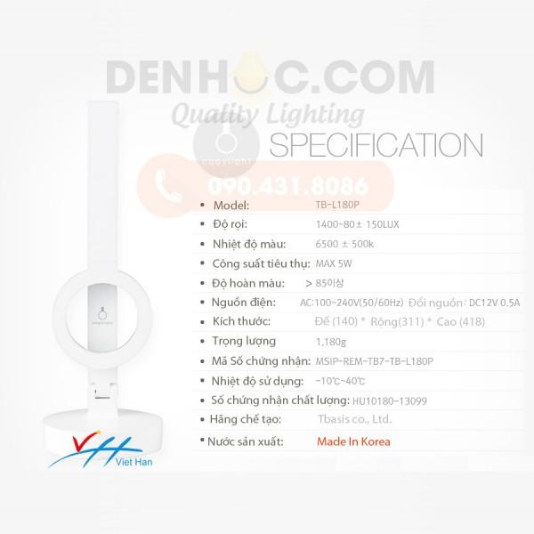 Thông số kỹ thuật đèn bàn LED HÀN QUỐC TB180
