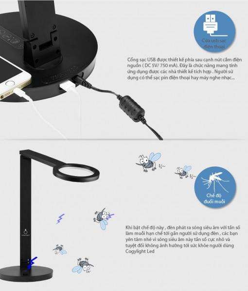 Đèn bàn học Cogy tích hợp đuổi muỗi và cổng sạc USB tiện dụng