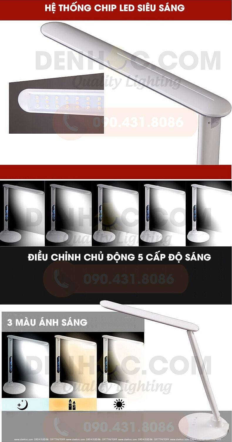 Đèn bàn DTT7 chỉnh 5 cấp độ sáng, 3 chế độ màu ánh sáng