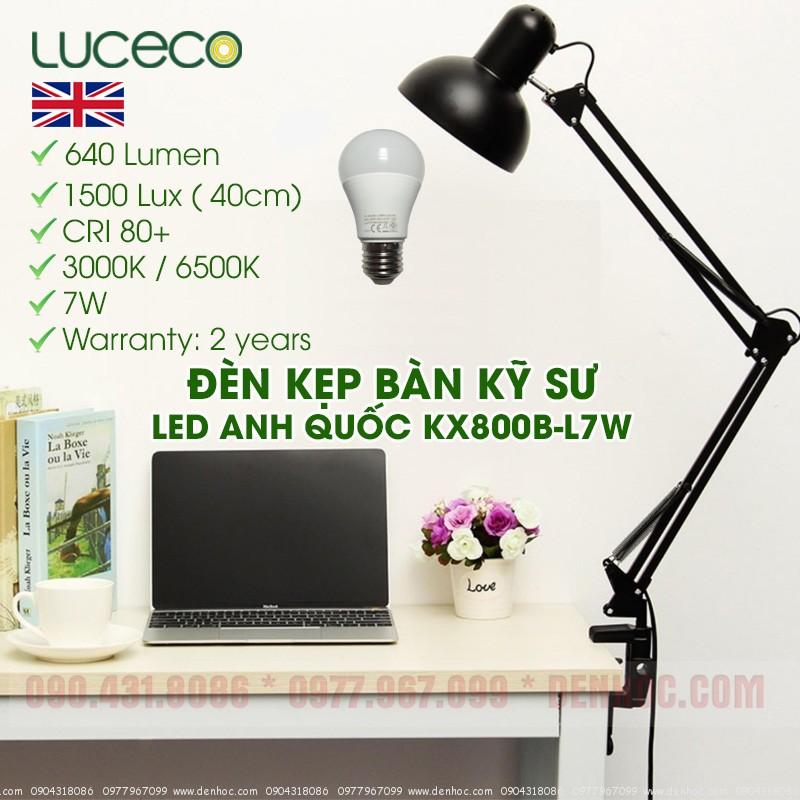 Đèn kẹp bàn Pixar Bóng LED ANH QUỐC LUCECO 7W DTKT800B-L7W