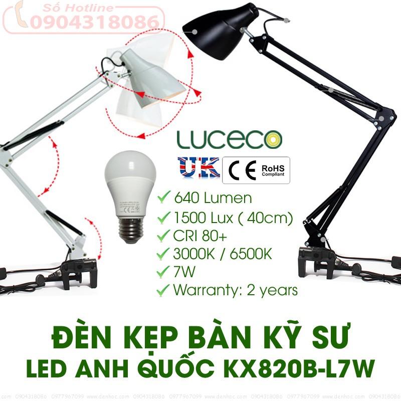 Đèn kẹp bàn làm việc 820B-L7W Bóng LED ANH QUỐC cao cấp