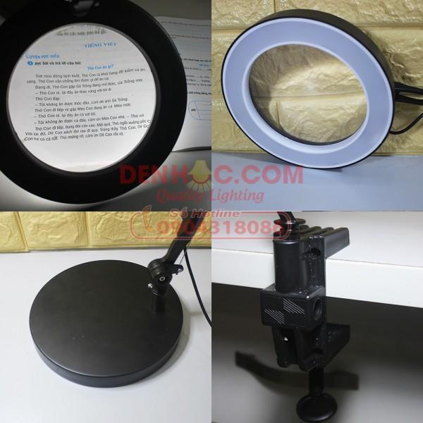 Một kính lúp lớn được trang bị và gắn trên chao đèn, giúp bạn có thể soi chi tiết cả những vật dụng, hình ảnh nhỏ nhất